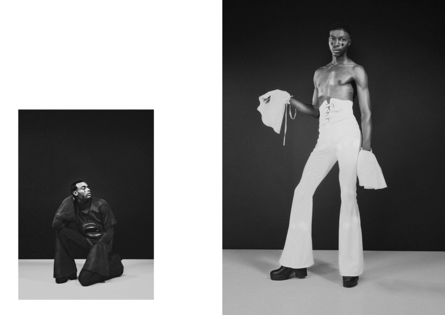LEFT: FLARE VEST AND BELL-BOTTOMS BY RICH MNISI, TOP BY ORANGE CULTURE RIGHT: BELT FROM THE SOURCE JHB, BELL AND BELL-BOTTOMS BY RICH MNISI