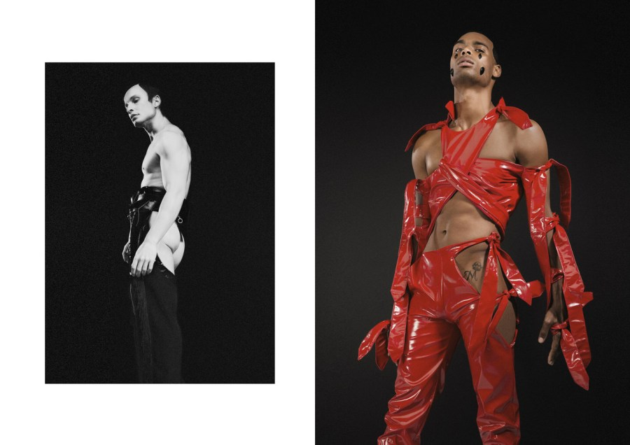 LEFT: CHAPS BY MARTELLE LUDEK RIGHT: LOBSTER TOP AND PANTS BY NAO SERATI