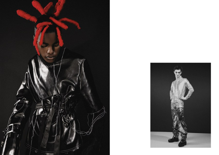LEFT: TURTLENECK, LEATHER TOP AND BELT BY TSEPO TSOTETSI RIGHT: VEST AND PANTS BY NAO SERATI