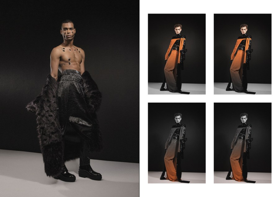 LEFT: FUR COAT BY NHLANHLA MASEMOLA, SKIRT BY RICH MNIDI RIGHT: TURTLENECK BY MARTELLE LUDEK, HALF JACKET AND PANTS BY RICH MNISI X THEBE MAGUGU