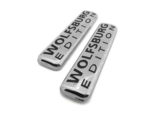 Set de 2 emblemas para salpicaderas de vehiculos WOLFSBURG EDITION fácil instalación solo van pegadas, cromadas acabado lujo