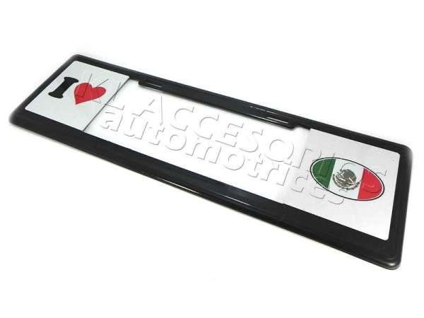 MARCO PORTAPLACA TIPO EUROPEO EDICION EDICION I LOVE MEXICO, BANDERA MEXICANA HECHO DE PLASTICO ABS CON LETRAS EN RELIEVE, CALCOMANIAS EN VINIL AUTOADHERIBLE IMPRESO CON REFLEJANTE, COMPATIBLE CON TODAS LAS PLACAS MEXICANAS.