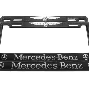 SET DE 2 PORTA PLACAS MERCEDES BENZ ALITAS, LETRAS EN RELIEVE