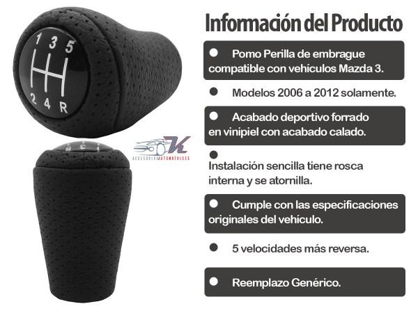 Pomo de la palanca de velocidades compatible con Mazda 3 modelos 2006 a 2012 con acabado deportivo en vinipiel calada