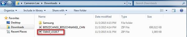 Odin v3.10.7 downloaded from SamMobile