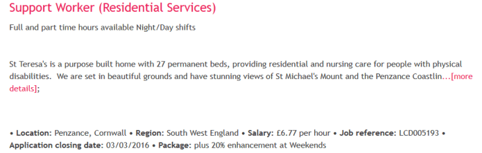 Support Worker (Residential Services) Penzance: £6.77 per hour.