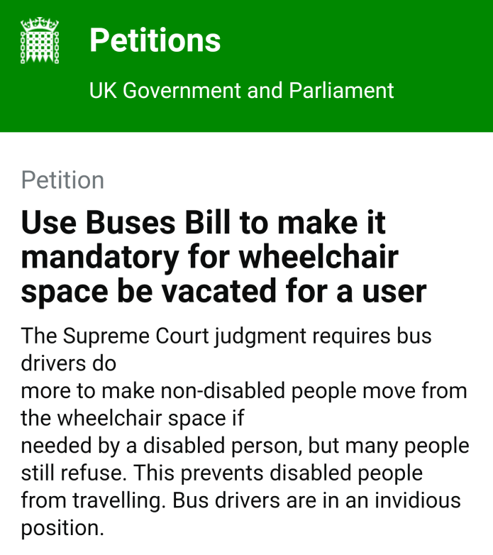 Parliament petition: enforce disabled people's right to use bus wheelchair spaces