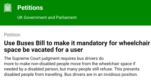 Government petition: change the law to enforce wheelchair access on buses