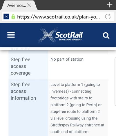 Screenshot of the Aviemore station information page on the Scotrail website