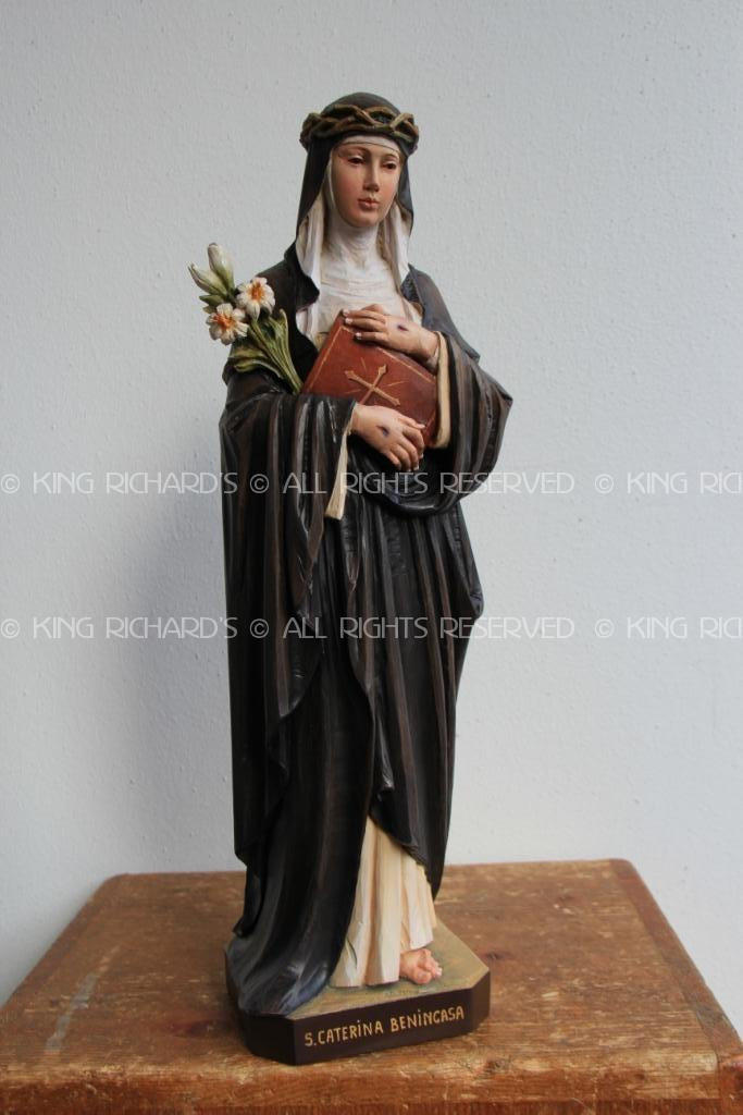 St Catherine Of Sienna New Hand Carved Wood Statue Of St