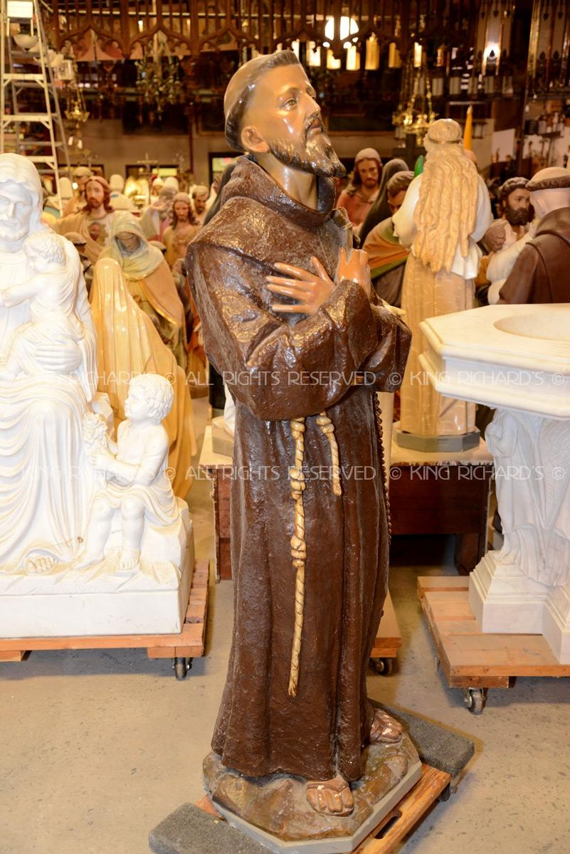St Francis Of Assisi Vintage Plaster Statue Of St