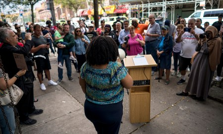 Mathlyde Frontus at a rally in front of her campaign headquarters on Mermaid Avenue in Coney Island (Photo by Tsubasa Berg)