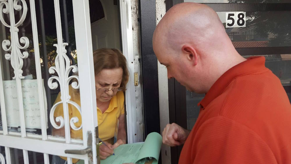 Bay Ridge Democrats President Chris McCreight pounds the pavements to get nominating petitions signed.  Photo from club's Facebook page.