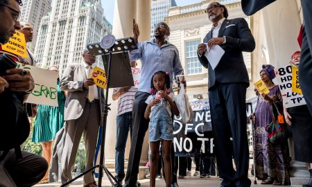 Press conference held by Councilman Robert Cornegy Jr. (right) before the long-waited hearing at City Hall on Monday. (Photo by Tsubasa Berg)