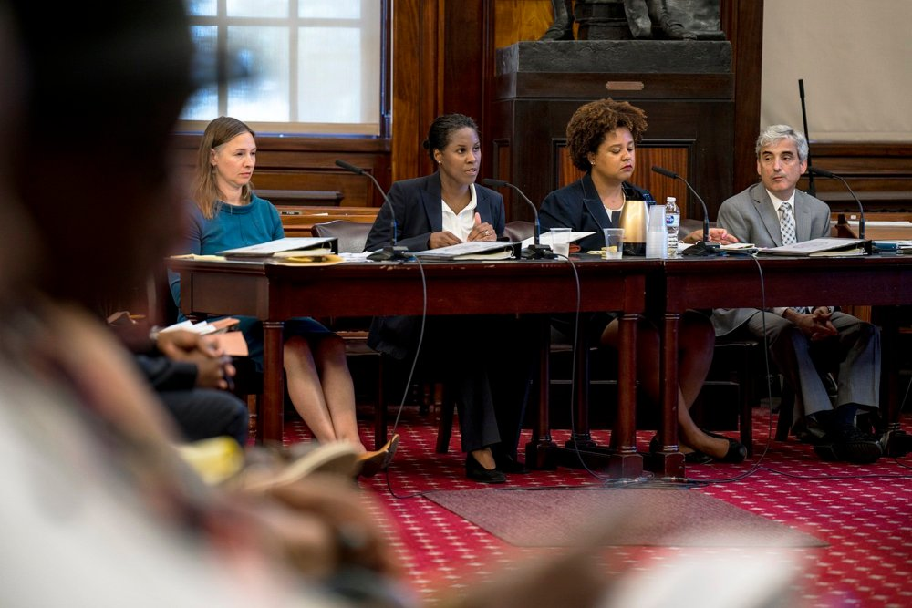 """Louise Carroll, Commissioner of HPD (second from left), and her team defends the Third Party Transfer as a successful program helping the minority community throughout the city, while admitting its need for """"update."""" (Photo by Tsubasa Berg)"""