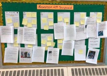 A newspaper story board.