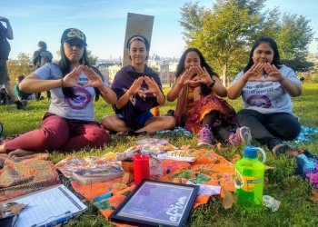 Climate and social justice activists participated in a workshop led by a transnational feminist group called AF3IRM NYC on Friday, Sept. 27, 2019 in Sunset Park. They displayed a symbol that represents Mauna Kea, a mountain that is sacred to Hawaiians, and the struggle to keep a 30-meter telescope from being built on that land.