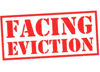 FACING EVICTION red Rubber Stamp over a white background.