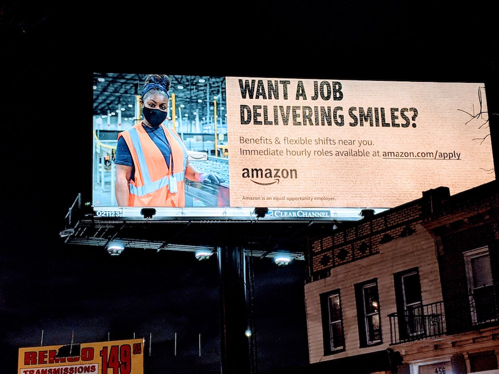 An Amazon billboard along Linden Blvd. in East New York advertises for jobs. The online retailer recently leased space in the neighborhood. Photo By Ariama C. Long.