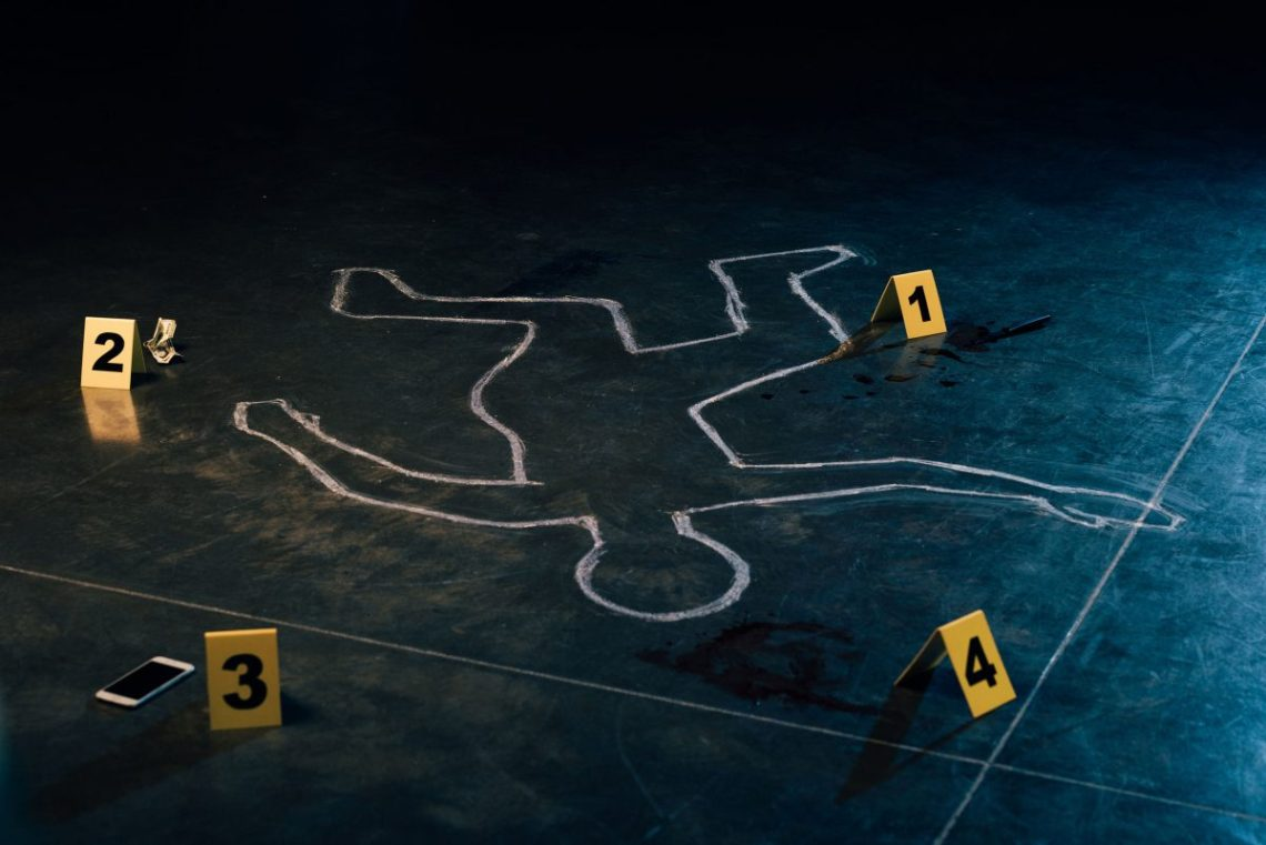 Chalk outline and evidence markers at crime scene. 123rf Stock Photo. Copyright : lightfieldstudios  (Follow)