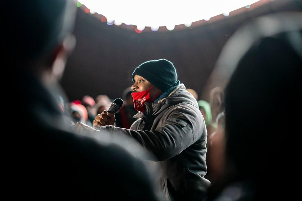 New York State Senator Jabari Brisport speaking at the rally