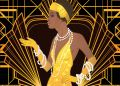 Retro fashion: glamour girl of twenties (African American woman). Vector illustration. Flapper  20's style. Stock from 123rf