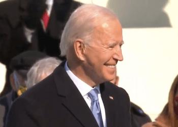 A screenshot of Pres. Joe Biden at his inauguration.