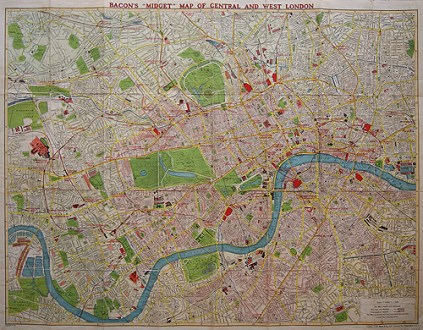 Bacon s  Midget  Map of Central and West London  c 1930