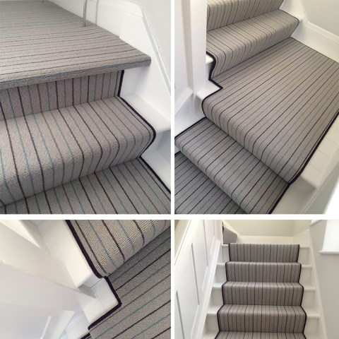 Grey Wool Carpet With Bound Runner To Stairs