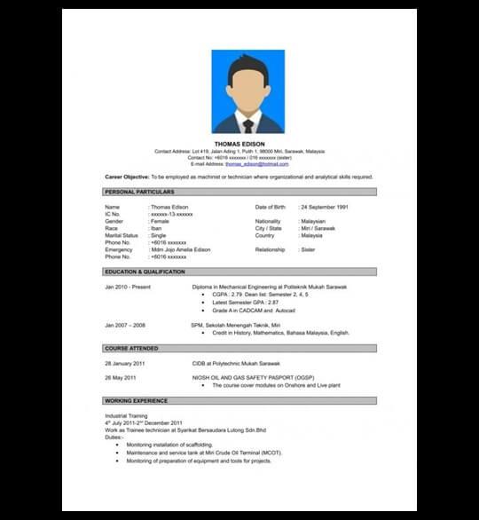 Contoh Resume Untuk Pekerjaan