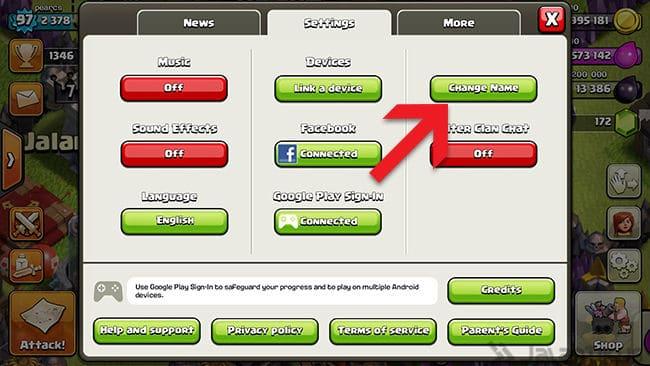 Klik tombol change name yang ada di menu setting
