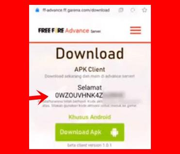 Kode Aktivasi Free Fire Advance Server