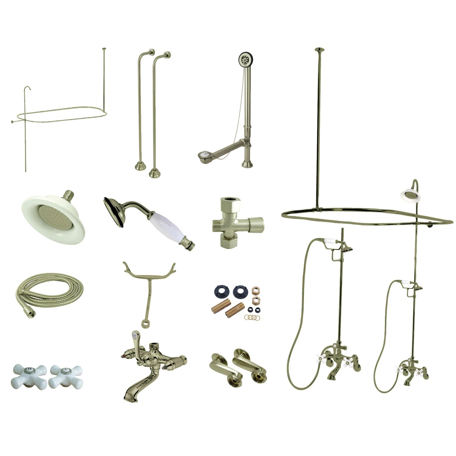 kingston brass cck1148px vintage clawfoot tub faucet package brushed nickel