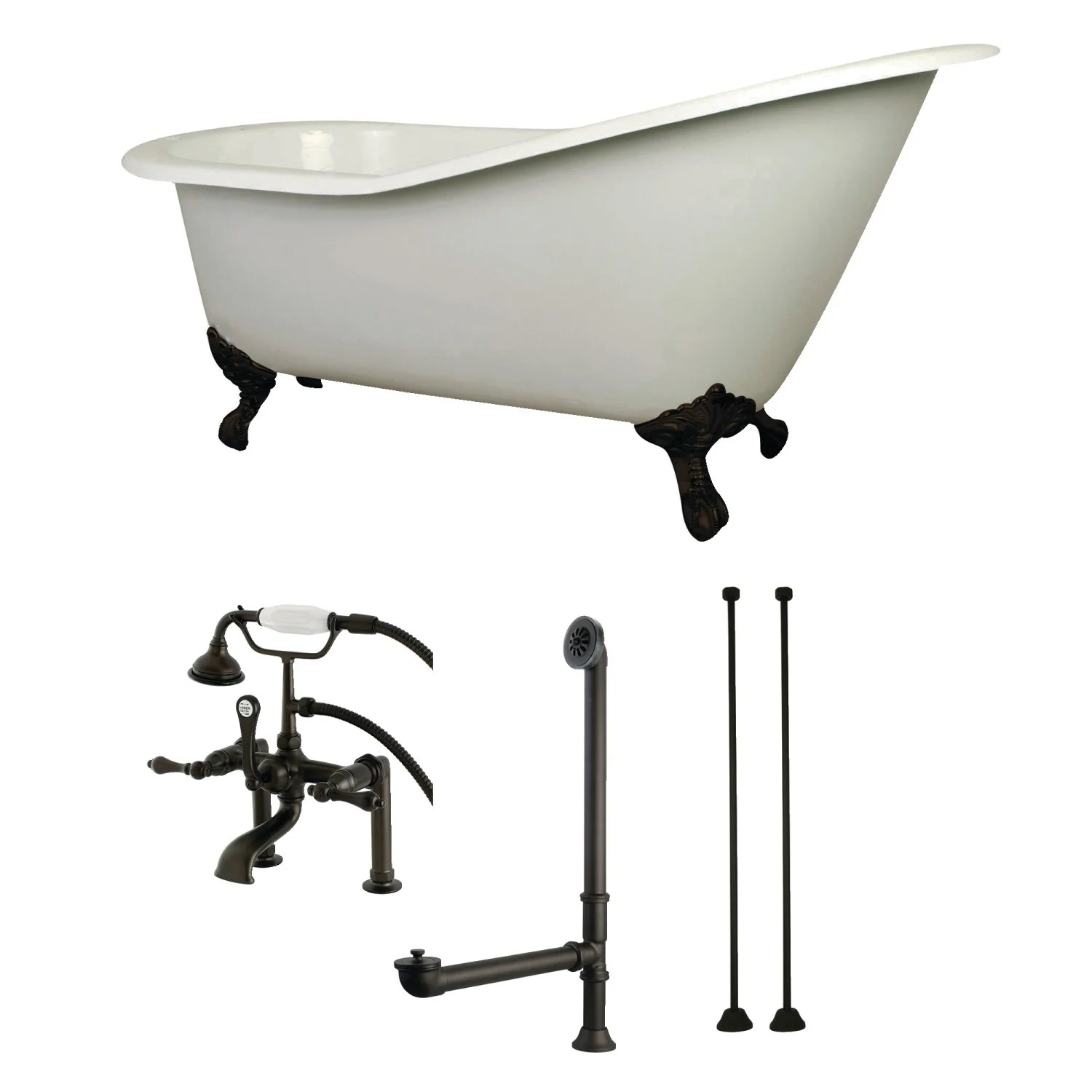 Aqua Eden Kct7d653129c5 62 Inch Cast Iron Single Slipper Clawfoot Tub Combo With Faucet And Supply Lines White Oil Rubbed Bronze