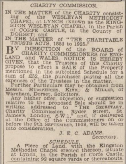 wesleyan chapel sale notice