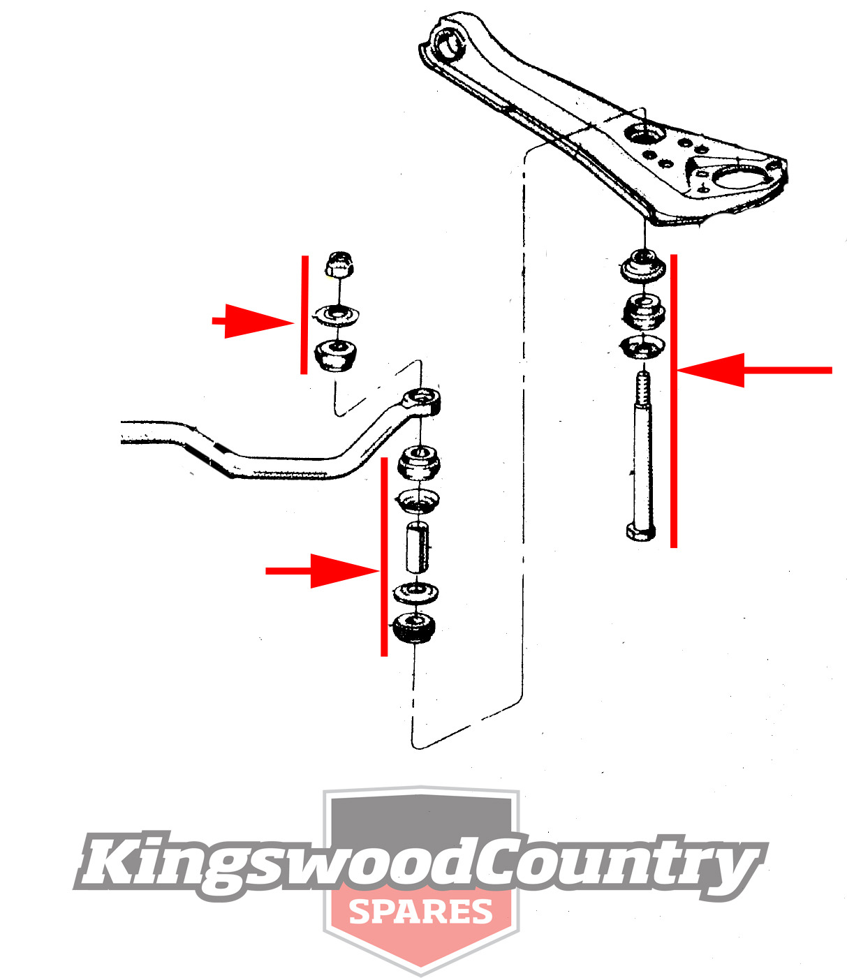 Ford Falcon Sway Bar Link Bush Kit X2 Xk Xl Xm Xp End Pin Stabiliser