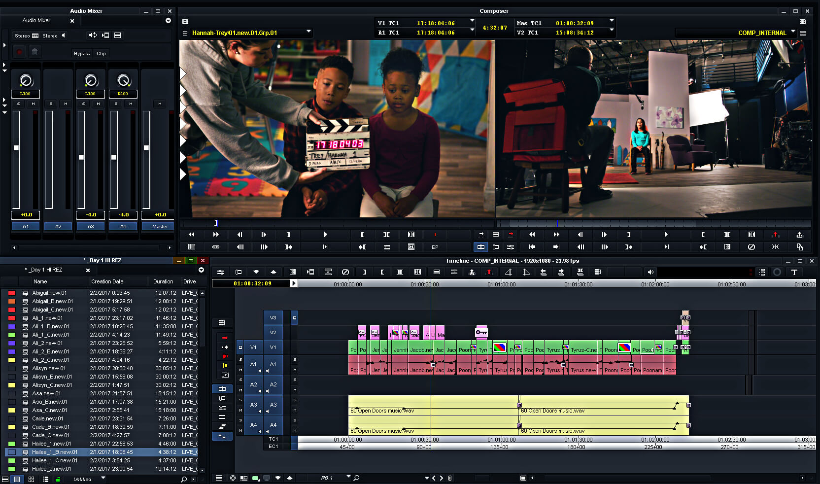 Pictured here is a screenshot of an Avid editing job at Kingswood Productions in Nashville, Tenn.