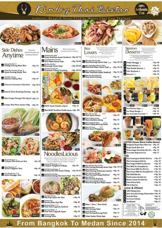 kinley thai medan menu