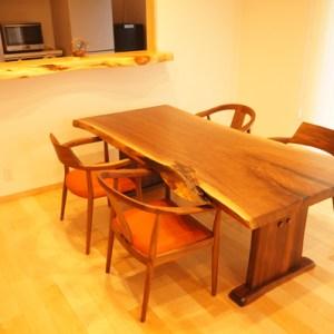 ウォルナット天然木一枚板ダイニングテーブル