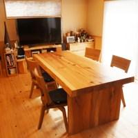 木の一枚板ダイニングテーブル
