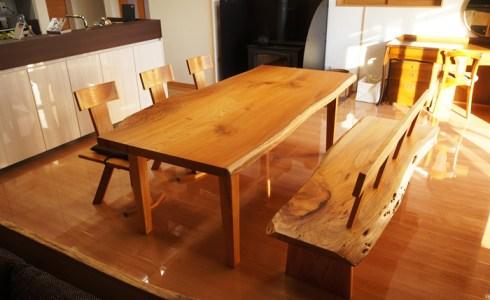 ケヤキ一枚板ダイニングテーブルセット