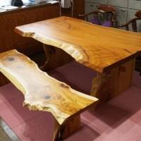 欅無垢一枚板ダイニングテーブルセット