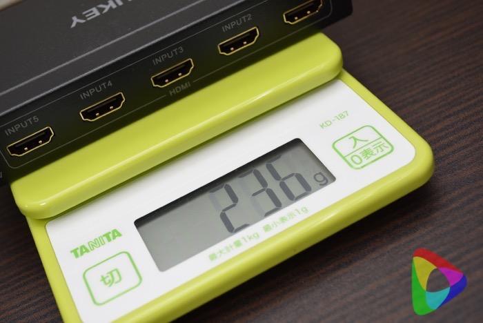 AUKEY HDMI切替器の重さ