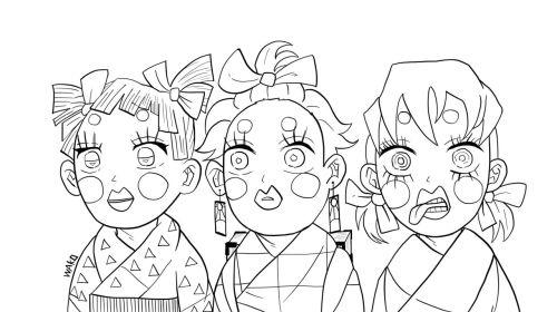 鬼滅の刃「かまぼこ隊」アニメ2期 ぶさいくな3人娘の塗り絵