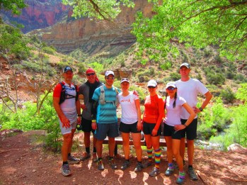 James, Pat, Ryne, me, Heather, Francine and Sean in the shade of Pumphouse Ranger Station