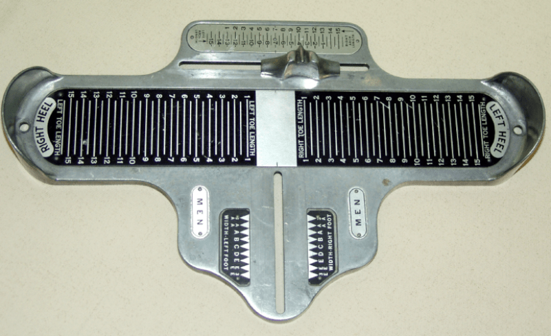 Using a brannock device, we can accurately measure your feet and help you in shopping for 2 different sized feet.