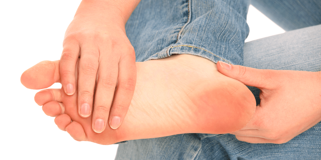 Plantar fasciitis can cause aches and pains in the feet.