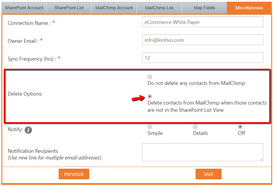 MailChimp Sync for SharePoint by Kintivo Enhancement