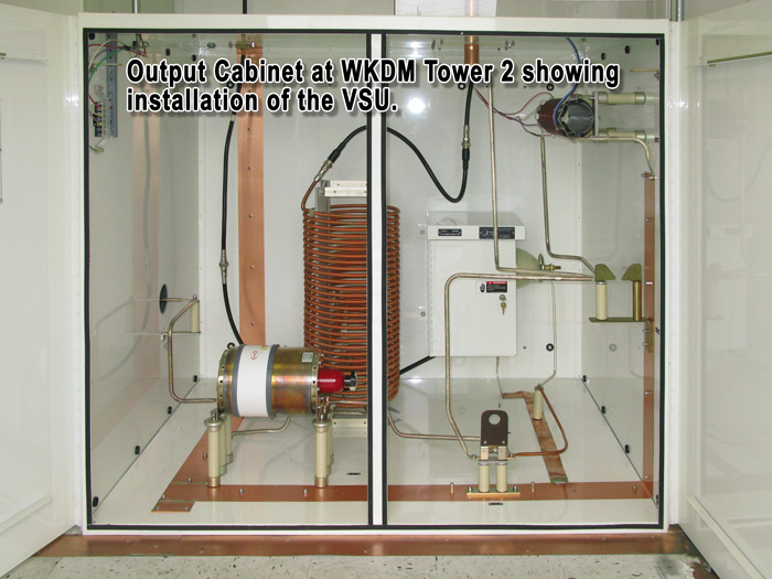 Output cabinet at WKDM Tower 2 showing installation of the VSU