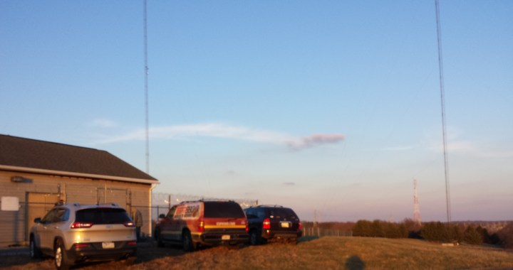 Two of the towers at the WSPZ transmitter site in Germantown, MD.
